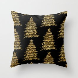 Gold Christmas Tree On Black Christmas Pattern Throw Pillow