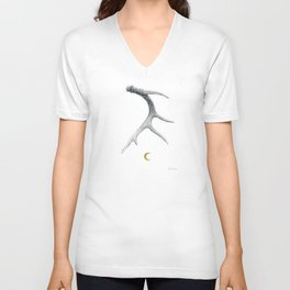 Moon Shed - Deer Antler Drawing w/ Golden Crescent Moon by Artist Brooke Figer Unisex V-Neck