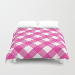 Pink & White Checkered Pattern-Mix and Match with Simplicity of Life Duvet Cover