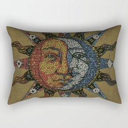 Vintage Celestial Mosaic Sun & Moon Rectangular Pillow