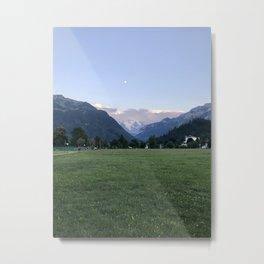 Moonlight In The Swiss Alps Metal Print