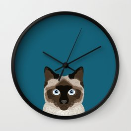 Ezra - Siamese Cat, Cute Kitten Retro Cat Art cell phone case, siamese, cute cat Wall Clock