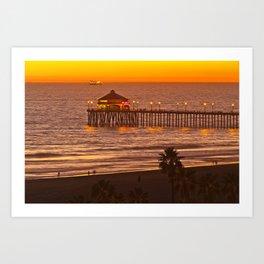 Ruby's Diner Sunset ~ Huntington Beach Pier CA  11/13/13 Art Print