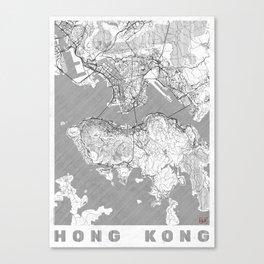 Hong Kong Map Line Canvas Print