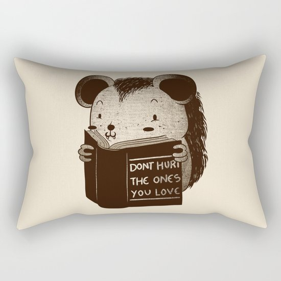 Hedgehog Book Don't Hurt The Ones You Love Rectangular Pillow