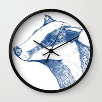 badger Wall Clocks featuring Badger by Emily Stalley