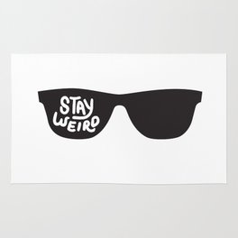 Stay Weird glasses Rug