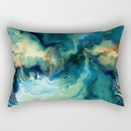 Abstract Blue Oil Painting Fractal Rectangular Pillow