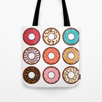 donuts Tote Bags featuring Donuts by TinyBee
