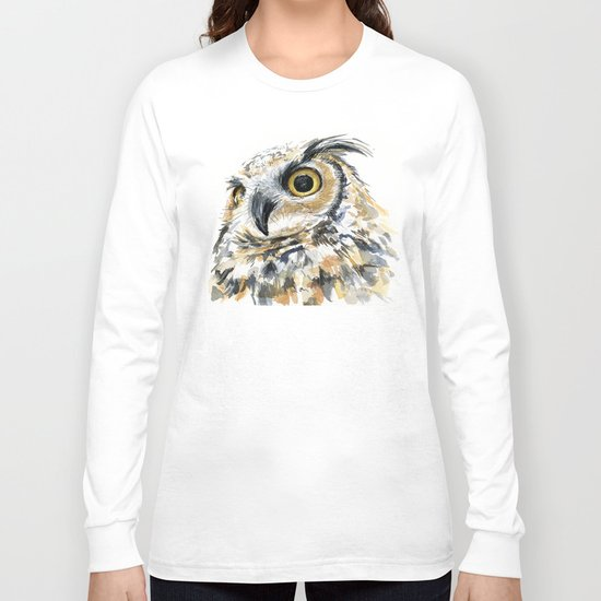 Owl Great Horned Bird of Prey Owls Animals Bird Wildlife Long Sleeve T-shirt