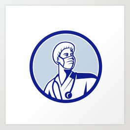 Medical Doctor Wearing Mask Mascot Retro Art Print