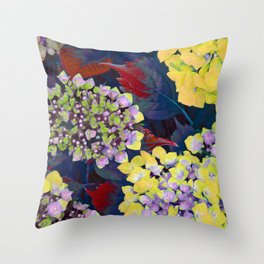Hydrangea Yellow Throw Pillow