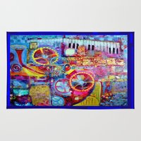 steam punk Area & Throw Rugs featuring Blue Steam Punk  Music Key Board & Clock Works Abstract by SharlesArt