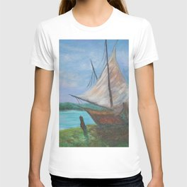 Shelter from the Storm, Two Sailboats nautical sailboat landscape painting by Hayley Lever T-shirt