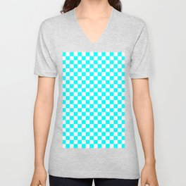 Small Checkered - White and Aqua Cyan Unisex V-Neck