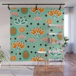 Summer flowers in mint Wall Mural