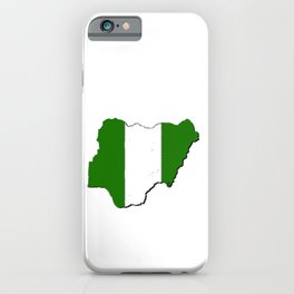 Nigeria Map with Nigerian Flag iPhone Case