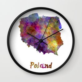 Poland in watercolor Wall Clock