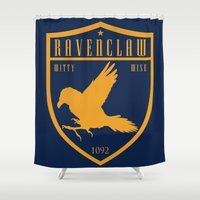 ravenclaw Shower Curtains featuring Ravenclaw Crest by machmigo