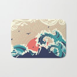 Abstract big waves of ocean and island at sunset landscape Bath Mat