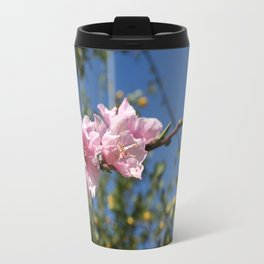 Peach Tree Blossom Against Blue Sky Travel Mug