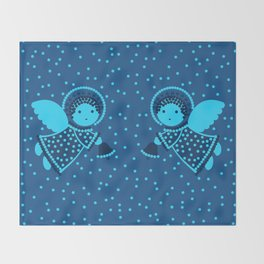 Angels on the deep blue Throw Blanket