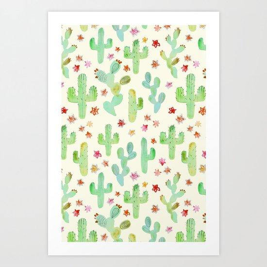 Watercolor Cacti Art Print