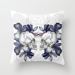 SKULLS & IRIS Throw Pillow