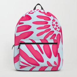 Flower pattern of abstract red shapes in a geometric circle sun burst celestial design Backpack