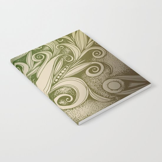 Tangled curves, olive Notebook