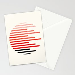 Mid Century, Modern, Minimalist, Circle, Round Photo, Vermillion Watercolor, Staggered Stripe, Patte Stationery Cards