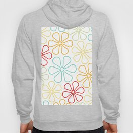 Abstract Flower Outlines Red Yellow Orange Lime Teal White Hoody