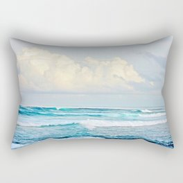 Blue Water Fluffy Clouds Rectangular Pillow