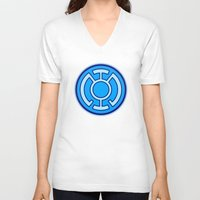 lantern V-neck T-shirts featuring Green Lantern: Blue Lantern by The Barefoot Hatter