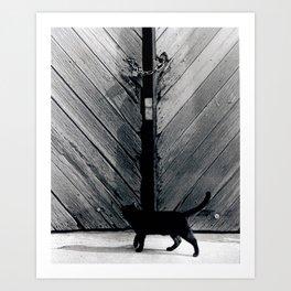 Curious Cat Staring Into Locked Door Art Print