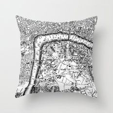 Old City Map Throw Pillow