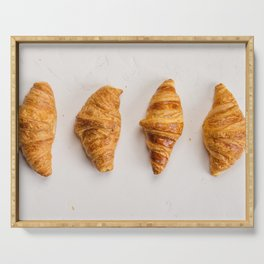Fresh croissants on rustic concrete background, flat lay Serving Tray