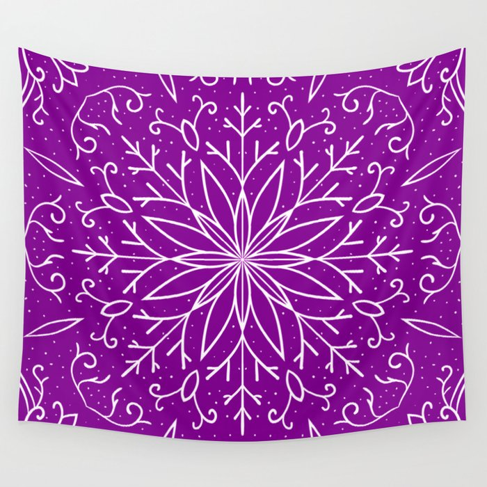 Single Snowflake - Purple Wall Tapestry