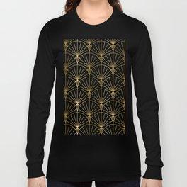 Black and gold art-deco geometric pattern Long Sleeve T-shirt