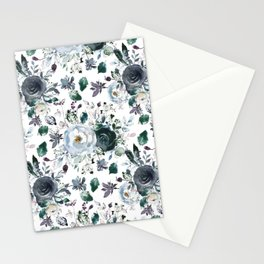 Botanical navy blue gray green watercolor peonies motif Stationery Cards