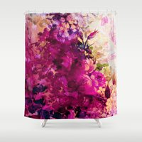 climbing Shower Curtains featuring climbing  roses by clemm