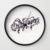 "calligraphy Wall Clocks featuring Calligraphy Ink by Luis ""Legz"" Garcia"