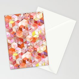 Gold and Garnet Kaleidoscope Cubes Stationery Cards