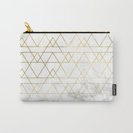 Gold Geometric Marble Deco Design Carry-All Pouch