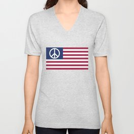 Peace and Love USA Flag Unisex V-Neck