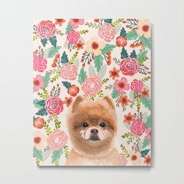 Pomeranian floral dog portrait cute art gifts for dog breed pom lovers Metal Print