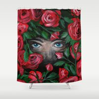 pain Shower Curtains featuring Rose Pain by LilKure