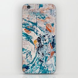 Reflections: a bold and interesting abstract mixed media piece in blues, yellows, orange, and white iPhone Skin