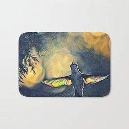 Golden Blue Hummingbird by CheyAnne Sexton Bath Mat