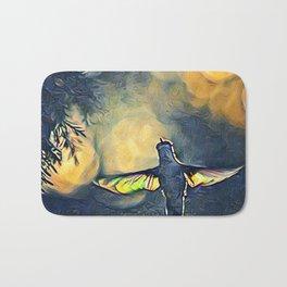 Golden Blue Hummingbird by CheyAnne Sexton Bath Mat